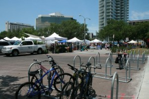 Lots of bike racks at the Saturday Market.