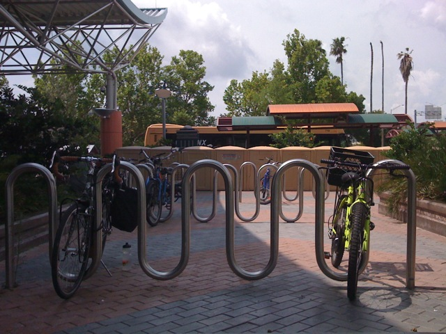 Bike racks and lockers at The Wave