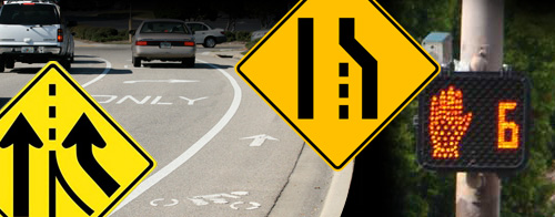 What do these signs tell you when you're riding? Do you know when a bike lane is misleading you? What do you do when a lane ends? Do you always merge right when a lane is added to tthe road? What does a roadway cyclist learn from a pedestrian countdown clock?