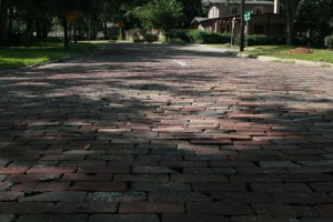 Poorly laid bricks on Thornton Ave in Orlando. As bad as they are, these do little to reduce the speed of motorists headed for the expressway.