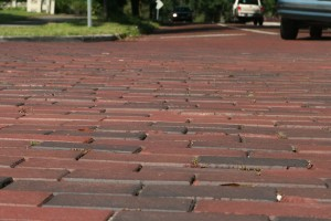 New traffic calming bricks on Lake Sue Blvd. in Winter Park. The surface looks flat, but the bricks are designed and laid to create nearly-intolerable vibration (at any speed).