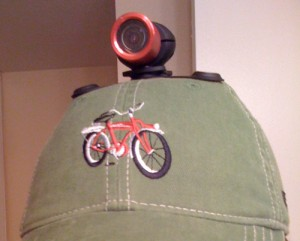 We used a magnet-mounted platform to attach the lens to a hat for shooting pedestrian crosswalk issues