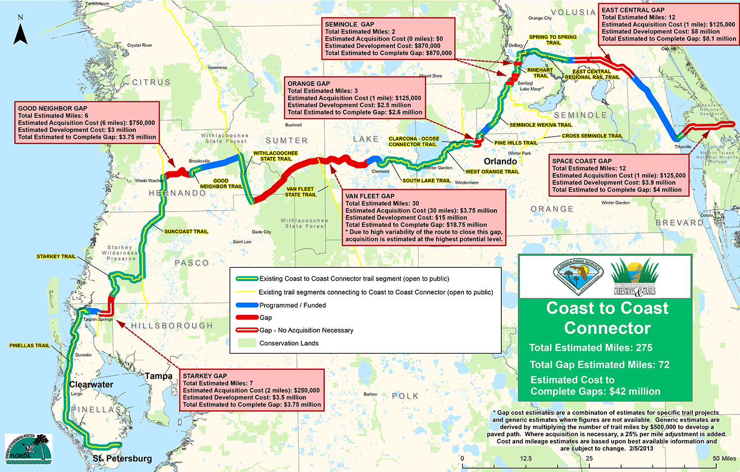 Rails To Trails Florida Map.Coast To Coast Connector Commute Orlando
