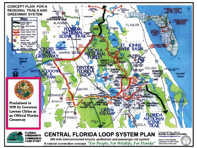 At a 1993 Florida Recreational Trails Council, Winter Park landscape architect Forest Michael, with input from Richard Dunkel and Dr. Bruce Stephenson of Rollins College, wrote a master plan and produced a map for what was to be known as the Central Florida Loop Trail. It was designated an official Florida Greenway by Governor Lawton Chiles in 1995.
