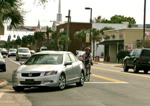 This bicyclist is avoiding a right hook conflict at Edgewater Drive & Princeton Street in Orlando.